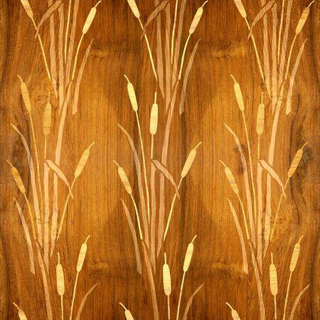 Reeds and wetland plants - Pattern of the decorative background - Interior wallpaper - wood texture - seamless background