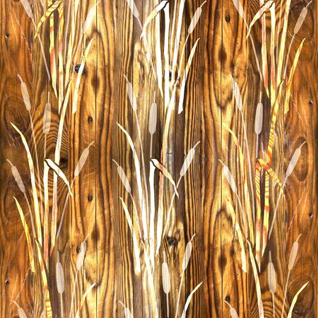 Water Reed Plant - Swamp cane grass - Interior wallpaper - seamless background - wood texture Stock Photo