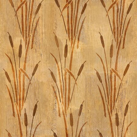Reeds in wetland plants - decorative pattern - Interior wallpaper - seamless background - wood texture Stock Photo