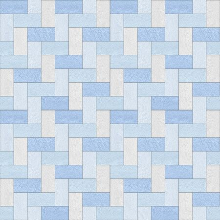Stylish Herringbone pattern - decorative tiles - Interior wall decor - seamless background - Mediterranean blue Stock Photo