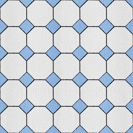 Hexagonal tile mosaic floor - Interior wall decor - decorative tiles - seamless background - white-blue coloring Stock Photo
