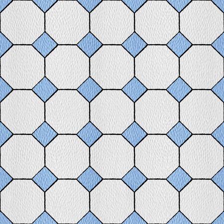 Hexagonal tile mosaic floor - Interior wall decor - decorative tiles - seamless background - white-blue coloring Stockfoto