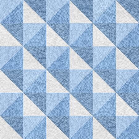 Pyramid decorative style - Abstract paneling pattern - decorative tiles - seamless background - repeating texture - granular white-blue surface Stock Photo