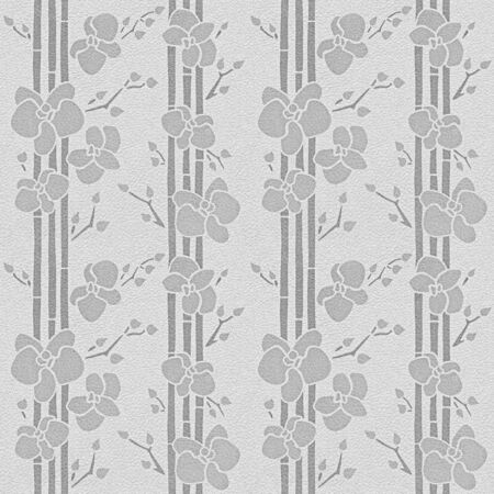 Tropical plants orchid floral decorative wallpaper - seamless background - white-gray coloration Stockfoto