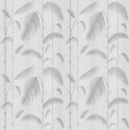 Decorative reed leaves - Interior wallpaper - seamless background - white-gray coloration Stock Photo