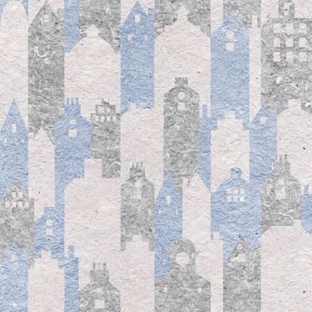 Abstract city building. Modern stylish architecture. Seamless decoration pattern. Granular white-blue surface