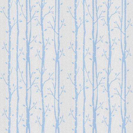 Decorative wallpaper with trees. Decorative alley. Grove on background. Seamless background. White-blue coloring
