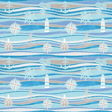 Marine and aquatic decorative patterns - waves decoration - seamless background - granular white-blue surface Stockfoto
