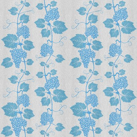 Decorative grape leaves. Grape wine background. White-blue coloring seamless patterns. Interior Design wallpaper.