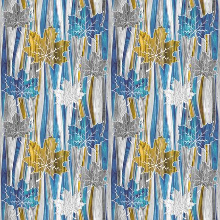 Maple leaf decorative pattern - waves decoration - seamless background - blue-yellow-white coloring Zdjęcie Seryjne