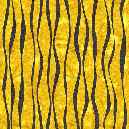 Decorative wavy pattern - Golden metallic surface of yellow orange color - seamless background