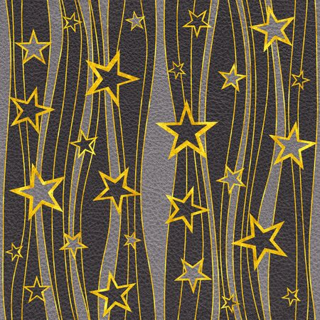 Decorative pattern with stars - seamless background - golden-black design
