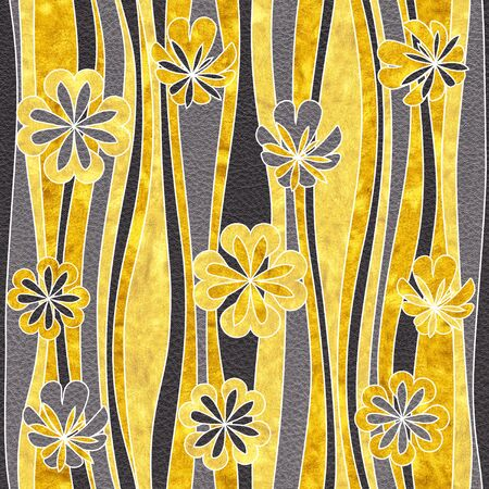 Seamless abstract floral pattern - Interior wall decoration - Black and Gold coloring - Use as wallpaper or wrapping paper