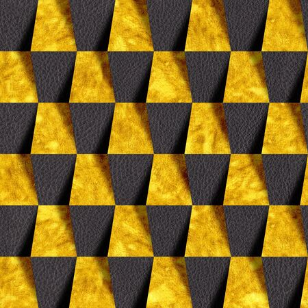 Black and gold decorative bricks - seamless background - Use as wallpaper for wall
