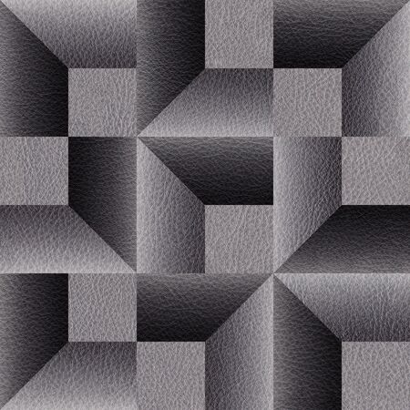 Decorative beveled geometric tiles - Modern graphic design - Black textured pattern - Use as wallpaper or wrapping paper