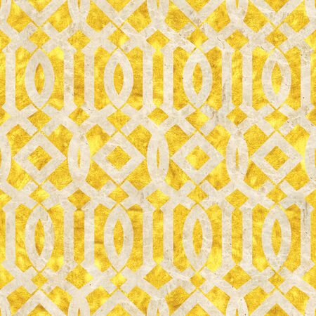 Decorative oriental pattern - Decorative lattice - seamless background - Golden and marble surface - Use as wallpaper Stock Photo