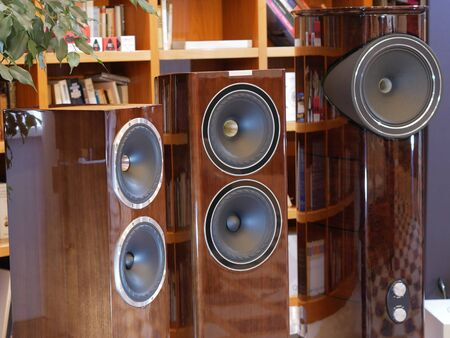Audiophile HiFi speakers in the listening room. Stock Photo