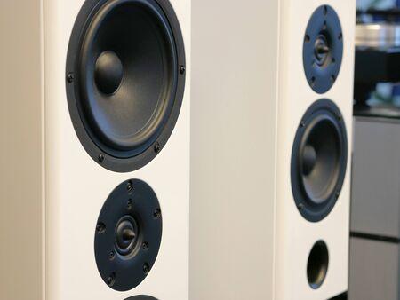 Hi-Fi stylish speakers. Close-up view. Stockfoto