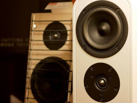 Hi-Fi stylish speakers. Close-up view. Stock Photo