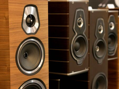 Hi-Fi stylish speakers. Close-up view. Banco de Imagens