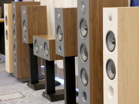 HiFi Stereo speakers. Audiophile equipment for quality music listening. Close-up view.