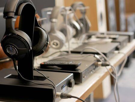 Audiophile Hi-Fi headphones. Close-up view.