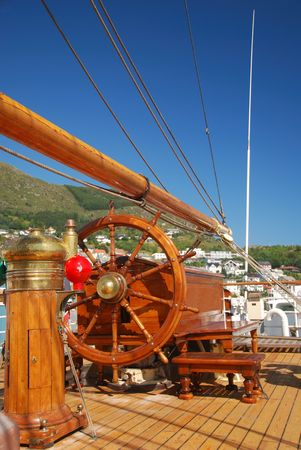 brigg: Steering position of a Tall Ship at Tall Ship Race in Maaoey, Norway Stock Photo