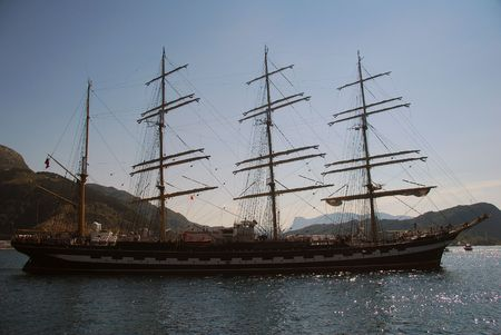 bowsprit: Tall Ship Races in Maaloey, Norway Stock Photo