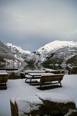 Winter and snow in Geiranger Stock Photo - 4636641