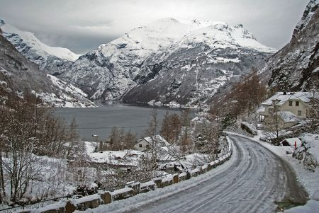 Winter and snow in Geiranger Stock Photo