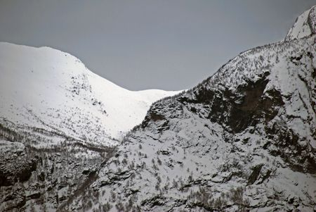 Winter and snow in Geiranger photo