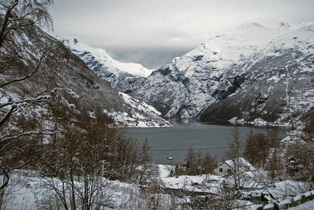 Winter and snow in Geiranger Stock Photo - 4636650