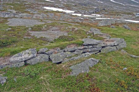 barrack: Ruins of an historic Barrack at Strynefjell in Norway