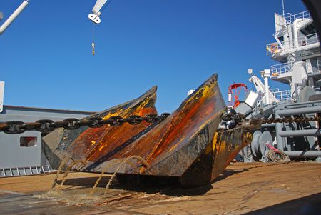 Pulling anchor onto deck. Stock Photo - 4704565