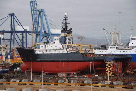 Tug boat in dry-dock