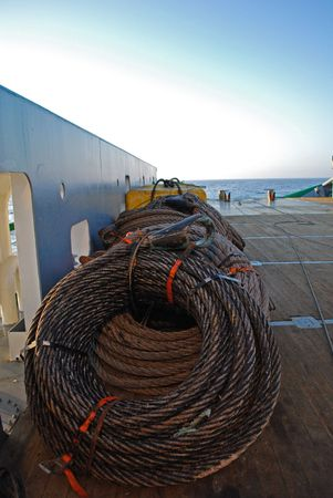 Wires on deck of an Anchor handling tug supply vessel Stock Photo - 4704571