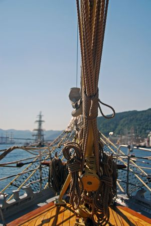 foretop: Bow of a Tall ship visiting Maaloey in Norway