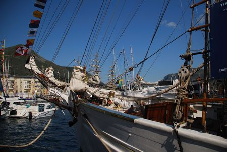 brigg: Bow of a Tall ship visiting Maaloey in Norway