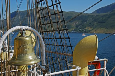 Ships bell of a Tall ship vsiting Maaloey in Norway photo