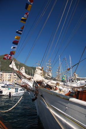 bowsprit: Bow of a Tall ship visiting Maaloey in Norway