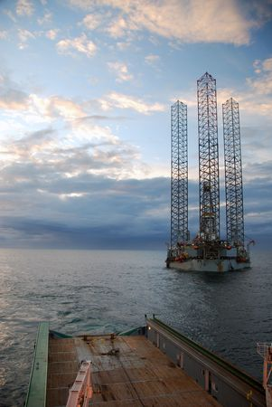Offshore rig move of an Jack-Up rig. photo