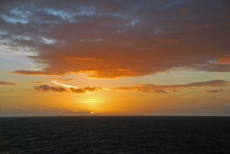Sunset over the ocean in the North Sea Stock Photo