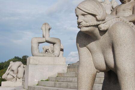 grey sky: Vigeland sculpture park in Oslo, Norway Stock Photo