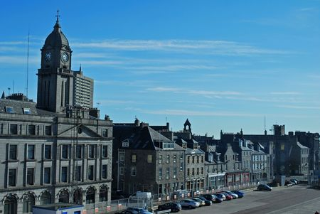 busses: Streets of Aberdeen in Scotland. Stock Photo
