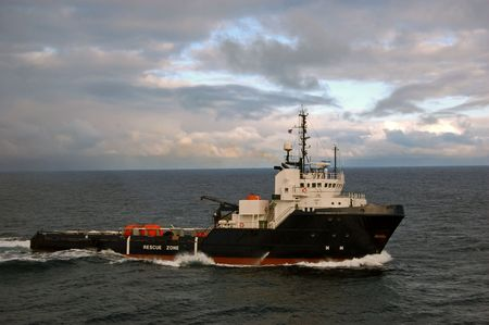 Anchor handling vessel in the North Sea Stock Photo