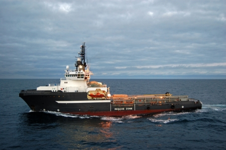 barge: Anchor handling vessel in the North Sea Stock Photo