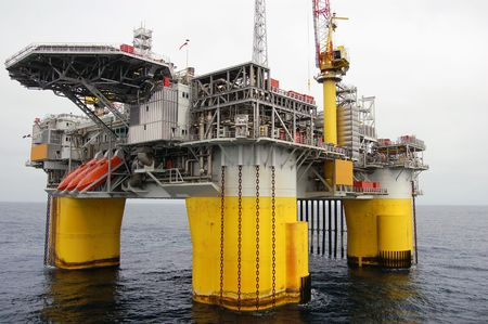 oilfield: Fixed Semi Submersible Oil platform in the North Sea Stock Photo