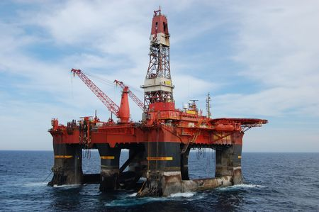 construction platform: Anchor handling of a Semi Submersible Oil Rig in North Sea.
