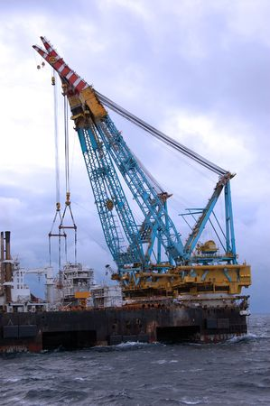 Heavy lift crane barge operating in the North Sea.