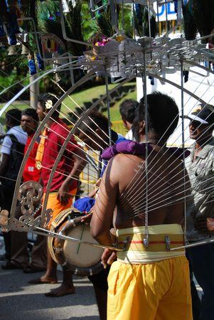 kavadi: Singapore, January, 30, 2010 - Thaipusam festival in Little India. Editorial